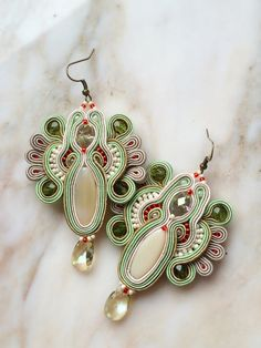 Kobe -fancy pastel soutache earrings in light green, cream, taupe with Swarovski crystals, pendientes soutache, orecchini soutache,