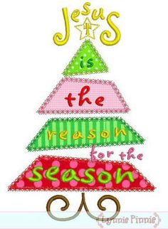 Embroidery Designs Ideas JESUS is the REASON for the Season Christmas Tree Satin and Deco Machine Embroidery D - Celebrate the season with this fun applique design! 3 sizes, each in satin and decortaive stitch finishes. Local Embroidery, Types Of Embroidery, Paper Embroidery, Machine Embroidery Applique, Learn Embroidery, Vintage Embroidery, Embroidery Patterns, Embroidery Stitches, Brother Embroidery