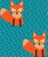 JNY Little Fox Turquoise single jersey luomu