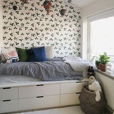 Could paint our ikea cabinets in a nice natural colour like this. With a sheet of ply at the top and bottom to give a custom feel as well as a flat bed for the mattress Ikea Kids Bed, Ikea Hack Kids, Platform Bed With Storage, Bed Platform, Bedroom Hacks, Ikea Bedroom, Small Bedroom Storage, Bed Storage, Nordli Ikea