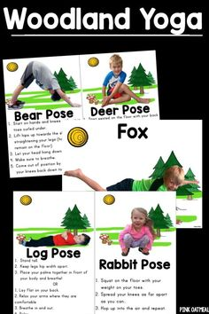 Kids yoga cards and printables with a Woodland theme!  Perfect for a Woodland unit.  I love the fox pose!