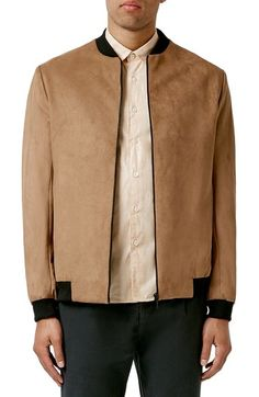 Topman Faux Suede Bomber Jacket available at #Nordstrom