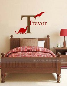 Personalized Dinosaur Wall Decal Vinyl Decal Wall Decal Baby Boy Girl Nursery Decal Bedroom Decal Childrens Name Decal Personalized Name Nursery Decals Girl, Wall Decals For Bedroom, Name Wall Decals, Vinyl Wall Stickers, Vinyl Wall Decals, Dinosaur Wall Decals, Monogram Decal, Vinyl Lettering, Textured Walls