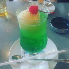 #creamsoda #icecream #green #cherry #retro #cafe #kawaii #cute #カフェ #カフェ巡り #純喫茶 #メロンソーダ…」