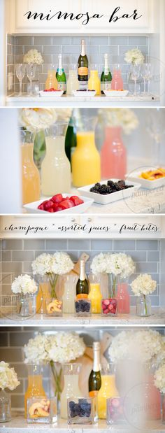 The Pampered Mom's EASY setup Mimosa Bar - perfect for Bridal Showers! #mimosa #mimosas #mimosabar #beverages #beveragestation #champagne #champagnebar #teamimhoff #thepamperedmom
