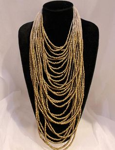 Multi-layered seed bead necklace