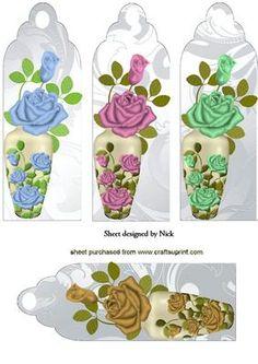 ROSES IN VASES BOOKMARKS on Craftsuprint - Add To Basket!