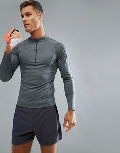 Shop the latest Asics Running Half Zip Sweat In Black 141203 0722 trends with ASOS! Athletic Outfits, Athletic Wear, Sport Outfits, Mens Running Shirts, Fitness Fashion, Men's Fitness, Fitness Style, Fitness Motivation, Latest Mens Fashion
