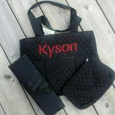 Black diaper bag 3 Piece Quilted set is perfect for boy or girl!