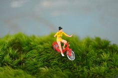 No Hands Terrarium Figurine, Moss Terrarium Figurine, Terrarium Accessory, Terrarium Miniatures, Bike Ride