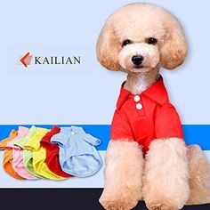 Kailian Pet Dog Doggie Dress Cotton Polo Dog TShirt Outfit Apparel Coats RedM >>> To view further for this item, visit the image link.-It is an affiliate link to Amazon.