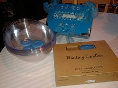 Center piece bowls with floating candles, card box