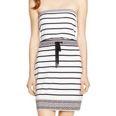 """NWT WHBM adorable striped strapless short sundress This dress is darling and perfect for warm weather! Vacation ready! Cute border print around the top, waist and bottom. Blouson top with drawstring waist. Fully lined. Nice stretchy rayon jersey fabric. Measures 43"""" bust, 37"""" adjustable waist, 48"""" hip, length is 32"""". Size L. Brand new! Smoke free home. White House Black Market Dresses Strapless"""