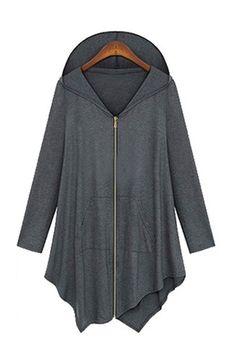 Love! Love! Love! Grey Long Sleeves Loose Hoodie Jacket Coat #Grey #Hooded #Fall #Winter #HiLo #Fashion #Trends