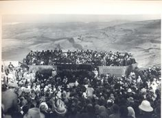 Opening Ceremony of the Hebrew University: Sir Herbert Samuel speaking. View of the Wilderness of Judea, the Dead Sea and the Mountains of Moab [1/4/1925]