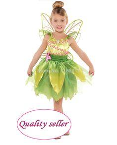 Girls Classic Tinker Bell Costume Cosplay Satin Princess dress pretty fantasia girl Halloween costume for Kids Children