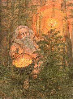 """Купальский дедок — в белорусском фольклоре добрый лесной дух, собирающий """"папараць-кветку"""" в купальскую ночь"""