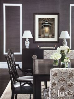 Gray Contemporary Guest Bedroom | LuxeSource | Luxe Magazine - The Luxury Home Redefined grey grasscloth dining room