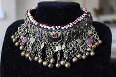 Collar gargantilla etnico bordado espejos boho por azulcasinegro