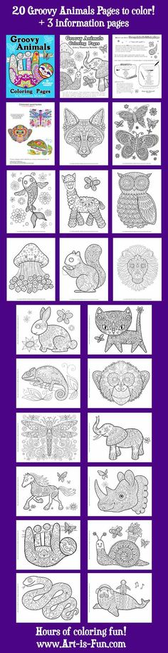 All Pages in Groovy Animals Coloring Book