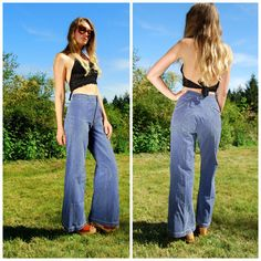 I used to wear these!!!  So FABULOUS! 70s Bell Bottoms Button Fly High Waisted Denim by SurfandtheCity