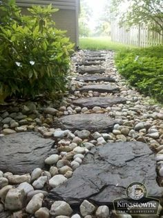 A French drain or weeping tile is a trench filled gone gravel or stone or contai. A French drain o Backyard Drainage, Landscape Drainage, Lawn And Landscape, Garden Landscape Design, Rock Drainage, River Rock Landscaping, Landscaping With Rocks, Front Yard Landscaping, Landscaping Ideas