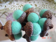 7 Aqua CASHMERE ACORNS upcycled retired by CustomWarmWoolies, $11.00