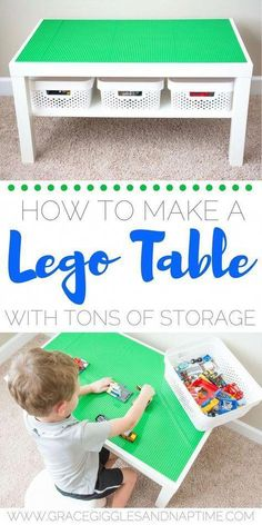 DIY Lego Table: How to make a Lego Table with tons of storage! #kidsroomstorage Table Lego Diy, Lego Table With Storage, Kids Storage, Toy Storage, Lego Play Table, Storage Ideas, Storage Organization, Diy Childrens Storage, Storage For Legos