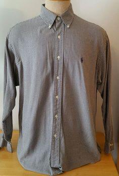 Ralph Lauren Yarmouth Men's Dress Shirt Button Up Gray White Size 16 1/2 34/35  #RalphLauren