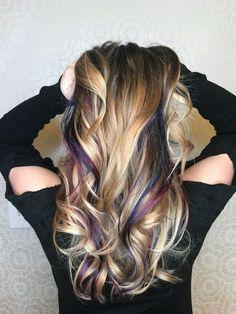 MAGICAL ✨ HAIR Done by Nena Lapa unicorn hair, mermaid hair, blue and purple peekaboo highlights, fun hair, color hair underneath, gorgeous, stunning, beautiful, pretty, balayage, blonde, pulpriot