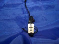 Christian Double Cross Leather Bracelet