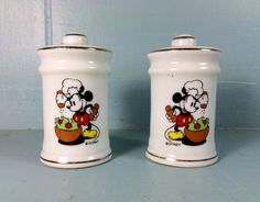 vintage porcelain Mickey Mouse salt and pepper by ThriftThrillers