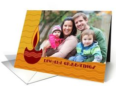 Diwali Greetings Photo Card with dotted waves pattern