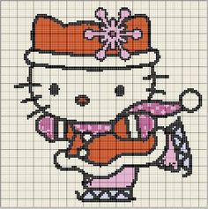 hello kitti, bead patterns, craft hamaperlerbead, perler beads, ice skating