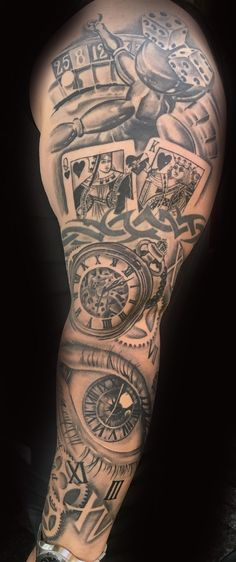 Gambling sleeve by toby harris casino tattoo, vegas tattoo, lifes a gamble tattoo, Cool Tribal Tattoos, Tribal Tattoo Designs, Tattoo Sleeve Designs, Sleeve Tattoos, Clock Tattoo Sleeve, Casino Tattoo, Vegas Tattoo, Payasa Tattoo, Hand Tattoos