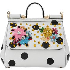Dolce & Gabbana  Embellished Dot Miss Sicily ($2,945) ❤ liked on Polyvore featuring bags, handbags, top handle handbags, handbag purse, foldable bag, dolce gabbana handbags and hand bags