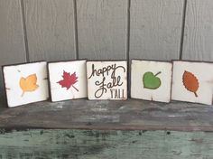 Happy Fall Y'all  Wood accent block/tiles  by WellHungDesigns