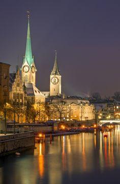 Panorama of Zurich, Switzerland, at night