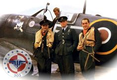 These airman were one of the first groups to be evacuated from Poland. They served heroically in May-June 1940 in the defense of France. In Great Britain, Polish airmen were initially formed into two bomber squadrons (300 and 301) and two fighter squadrons (302 and 303). Over 80 Polish airmen also served into Royal Air Force (British) units. In total, during the war the Polish Air Force counted 16 divisions which fought over Europe and North Africa.