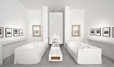 White Slipcovered Sofa Living Room Contemporary with Concrete Floor Lacquer Long
