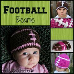 FREE Pattern   Football Beanie   Colie's Crochet   coliescrochet.com