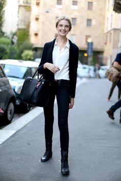 black sweater + white collared shirt + black lace up boots inspiration #fall #student #oakridgestyleheist