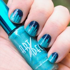 A quick & pretty makeover to cover chipped nail polish - stripes on tips nail art design using striper brush