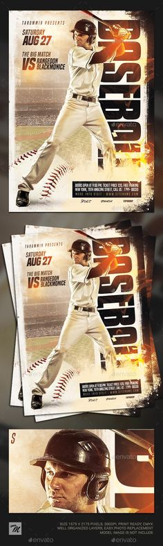 Baseball Flyer Features Easy editable text Organised layers and grouped Print size: inch Bleed area: inches 300 Dpi, CMYK PSD file Dimensions With guidelines You can quickly replace your image with the photo you want (via Smart Object)! Kenyan Coffee, Sports Flyer, Free Fonts Download, Flyer Template, Your Image, Baseball, Flyers, Model, Easy