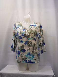 Karen Scott T-Shirt Plus Size 0X Blue Floral 3/4  Sleeves V-Neck Button Pullover #KarenScott #GraphicTee