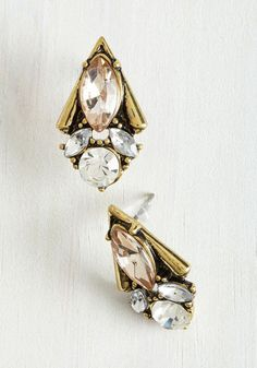 Enamored by Glamour Earrings in Champagne. Its no wonder youre taken by these vintage-inspired earrings! #gold #modcloth