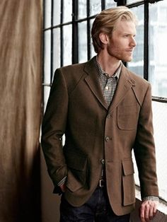 $368, Brown Blazer: Joseph Hacking Jacket by Pendleton. Sold by PENDLETON. Click for more info: http://lookastic.com/men/shop_items/2516/redirect