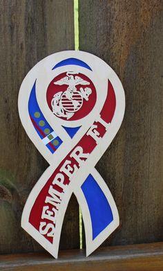 Semper Fi Hero Ribbon Wood Wall Hanging USMC Gift