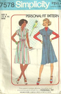 Simplicity 7578 Misses 1970s Pullover Dress Jumper Womens Vintage Sewing Pattern from the 70s by patterngate.com