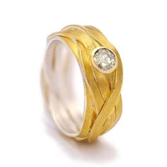 Engagement ring with fused fine gold on a woven strand sterling silver base. Featuring a diamond, brilliant cut. Will Smith, Gold, Wedding Rings, Fancy, Engagement Rings, Diamond, Cambridge, Style Fashion, Fashion Accessories